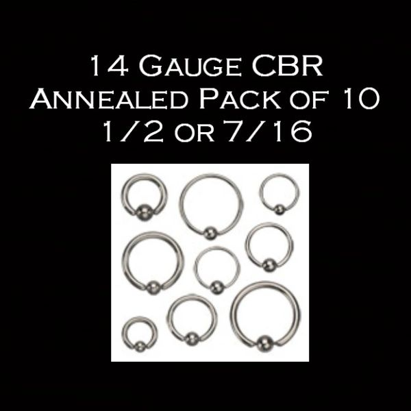 14 Gauge 1/2 or 7/16 CBR Annealed Pack of 10