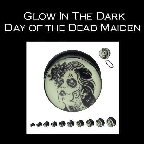 Glow In The Dark Day of the Dead Maiden Plug