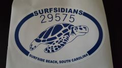 29575 Blue & White Surfsidians Sea Turtle Decal (4x6) oval