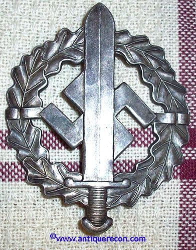 WW II GERMAN SA SILVER SPORTS BADGE - W. REDO