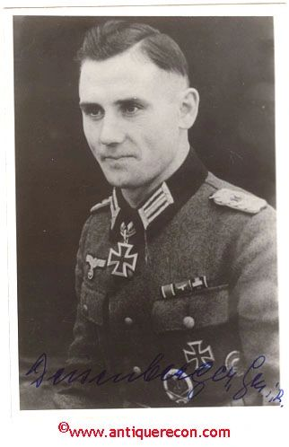 GERMAN PANZER MAJOR KNIGHTS CROSS WINNER SIGNED PHOTO
