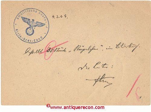 WW II GERMAN POST CARD - MAILED 1944
