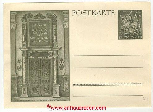 WW II GERMAN POST CARD CHAPEL OF MUNICH RESIDENT