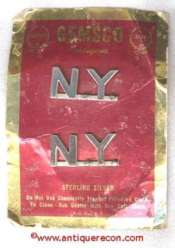 GEMSCO NEW YORK COLLAR INSIGNIA - STERLING