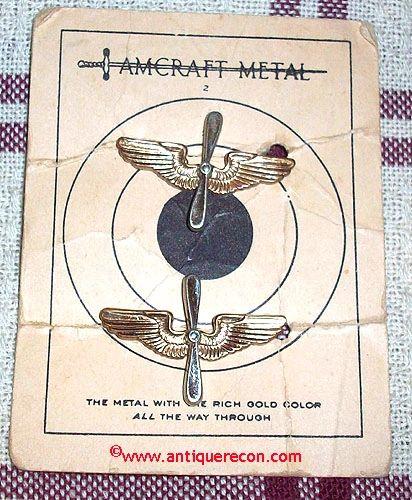 WW II US ARMY AIR CORPS OFFICER COLLAR INSIGNIA - AMCRAFT