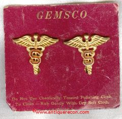 WW II US ARMY MEDICAL SANITARY CORPS OFFICER COLLAR INSIGNIA - AMICO