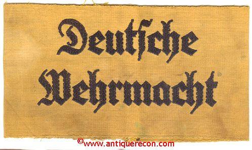 WW II GERMAN DEUTSCHE WEHRMACHT ARM BAND - USED