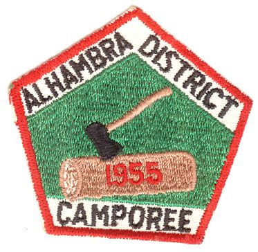 BOY SCOUTS ALHAMBRA DISTRICT CAMPOREE 1955 PATCH