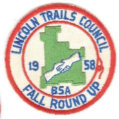 BOY SCOUTS LINCOLN TRAILS COUNCIL FALL ROUND UP 1958 PATCH