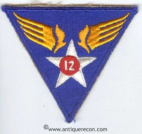 WW II US ARMY 12th AIR FORCE PATCH