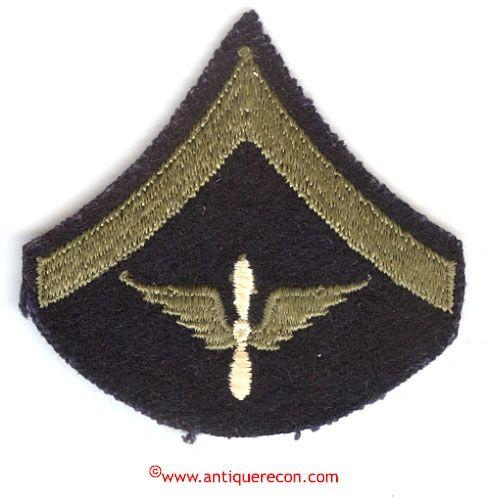 WW II US ARMY AIR CORPS PRIVATE RANK STRIPE - SINGLE