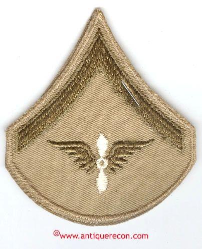 WW II US ARMY AIR CORPS PRIVATE RANK STRIPES - KHAKI