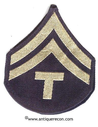 WW II US ARMY CORPORAL TECH 5th GRADE RANK STRIPES