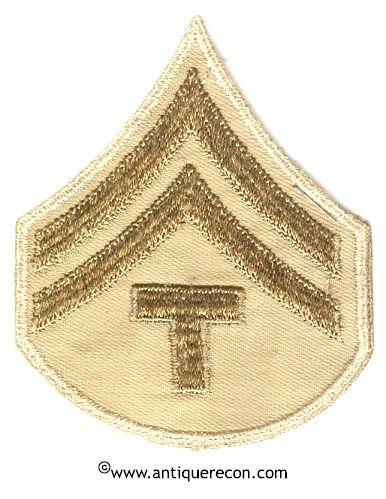 WW II US ARMY CORPORAL TECH 5th GRADE RANK STRIPES - KHAKI