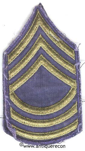 WW II US ARMY MASTER SARGENT RANK STRIPES - COMBAT - USED