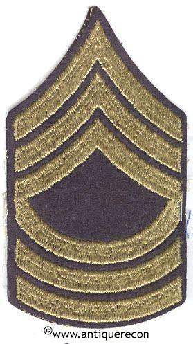 WW II US ARMY MASTER SARGENT RANK STRIPES - WOOL