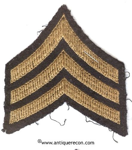 WW II US ARMY SARGENT RANK STRIPES - CHAIN STITCH