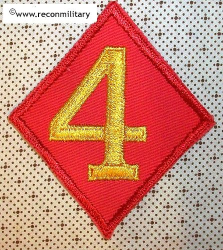 WW II USMC 4th MARINE DIVISION PATCH - VARIANT - FOOTED 4