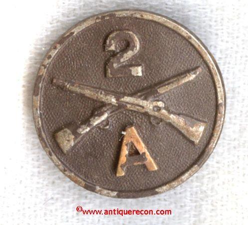 WW I US ARMY 2nd INFANTRY A COMPANY COLLAR INSIGNIA