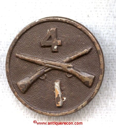 WW I US ARMY 4th INFANTRY COMPANY I COLLAR DISK