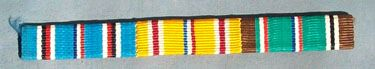 WW II US ARMY SEW ON RIBBON BAR - AMERICAN CAMPAIGN, ASIATIC PACIFIC CAMPAIGN & EUROPEAN AFRICAN MIDDLE EASTERN CAMPAIGN