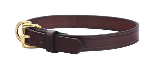 Plain Leather Dog Collar in BLACK or HAVANA BROWN