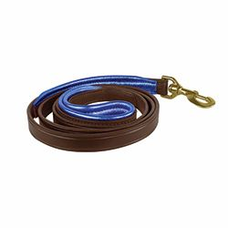 "1"" x 5 foot HAVANA BROWN Padded Leather Dog Leash in THREE METALLIC Padding Colors"