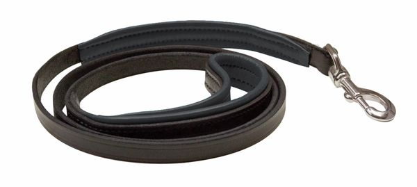 "1/2"" x 5 foot Skinny BLACK Padded Leather Dog Leash in NINE Padding Colors"