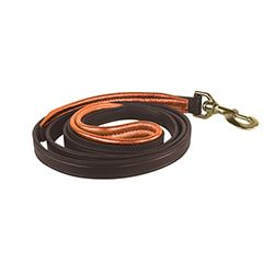 "1/2"" x 5 foot Skinny HAVANA BROWN Padded Leather Dog Leash in THREE METALLIC Padding Colors"