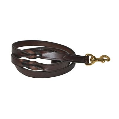 5 foot Twisted Leather Dog Leash in BLACK or HAVANA BROWN