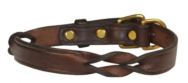 Twisted Leather Dog Collar in BLACK or HAVANA BROWN