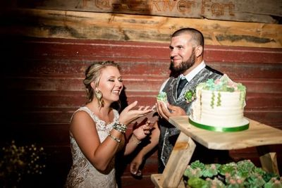 Bride and Groom cut the wedding cake.