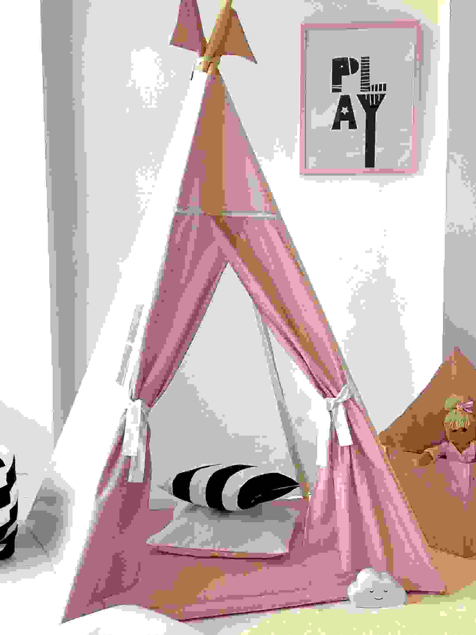 pink and white kids teepee tent