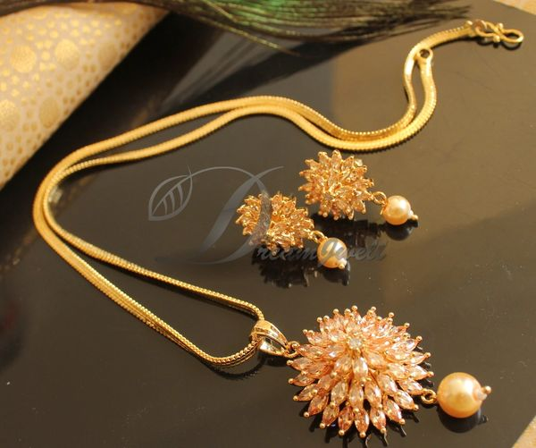 Beautiful Cz Gold Flower Designer Pendant Set Dj18268 Dreamjwell