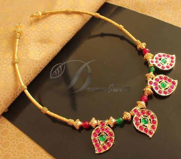 Beautiful Gold Plated Kemp Green Mango Designer Temple Necklace