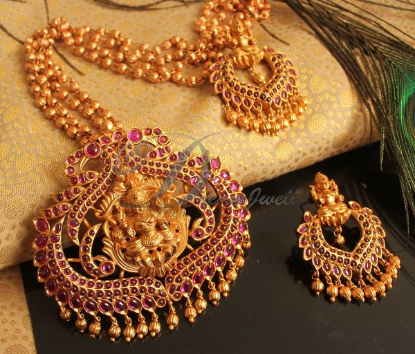 27dfa86b1 BEAUTIFUL MATTE FINISH PINK LAKSHMI DESIGNER NECKLACE SET DJ18430 |  DREAMJWELL