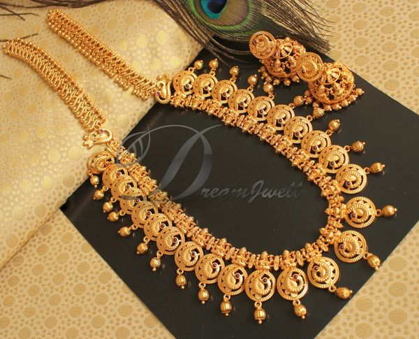 67764d6d9 BEAUTIFUL MATTE FINISH LAKSHMI DESIGNER NECKLACE SET DJ19069 | DREAMJWELL