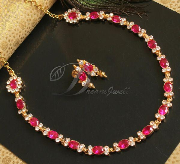 Beautiful Cz Ruby Gold Replica American Diamond Stone Designer