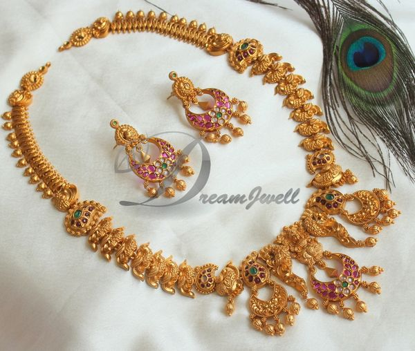 fba019ea9 BEAUTIFUL MATTE FINISH LAKSHMI PEACOCK DESIGNER NECKLACE SET DJ20430 |  DREAMJWELL