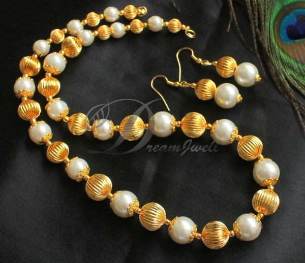 9009f750baacd BEAUTIFUL GOLD PLATED PEARL BEADS DESIGNER NECKLACE SET DJ20620