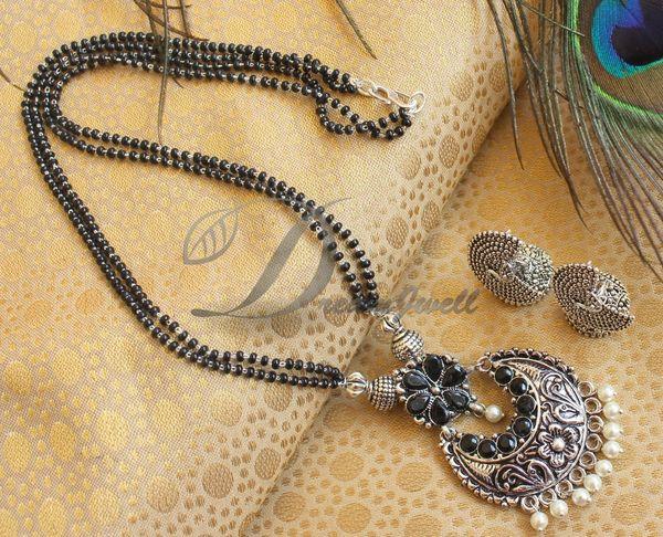 BEAUTIFUL BLACK PEARL DESIGNER MANGALSUTRA SET DJ21389