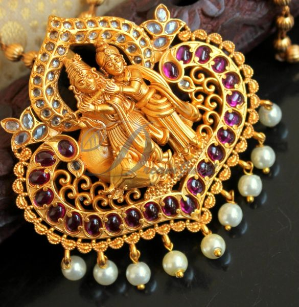 BEAUTIFUL MATTE FINISH REAL KEMP KRISHNA-RADHA DESIGNER PENDANT SET DJ21982