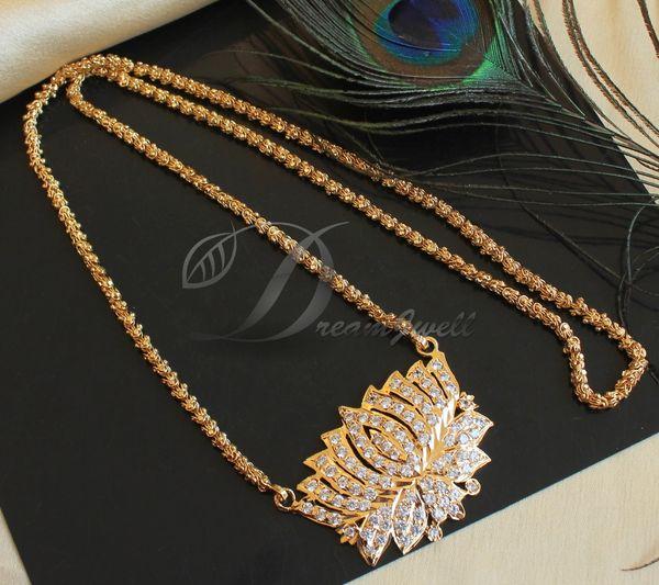 Beautiful Gold Plated Cz White Designer Lotus Flower Designer