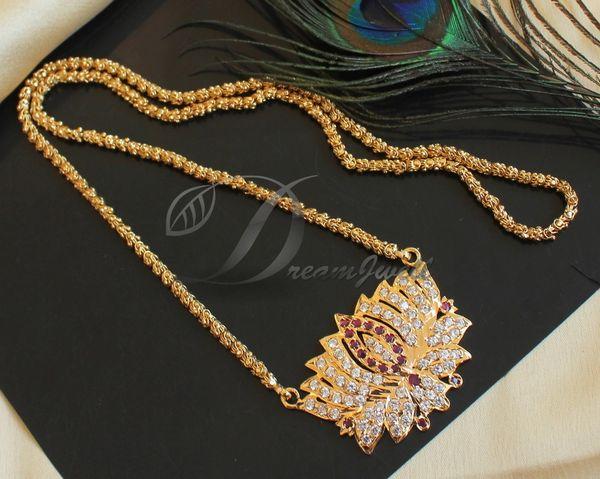 Beautiful Gold Plated Cz Ruby White Designer Lotus Flower Designer