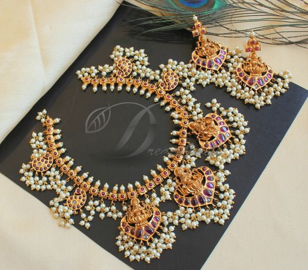 e47936033 BEAUTIFUL MATTE FINISH KEMP LAKSHMI PEARL GUTTA PUSALU DESIGNER NECKLACE SET  DJ23590 | DREAMJWELL