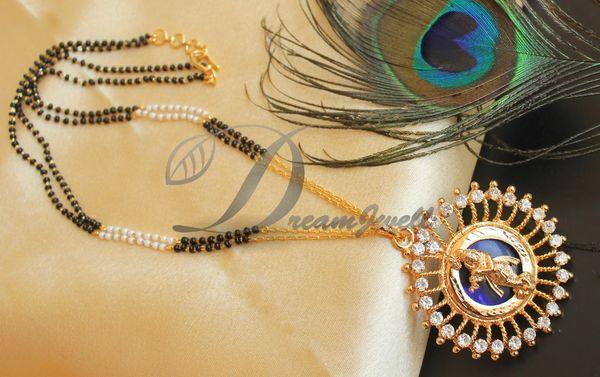 BEAUTIFUL KERALA STYLE BLUE KRISHNA DESIGNER PENDANT MANGALSUTRA DJ24125