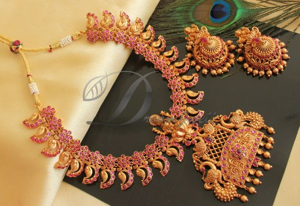 2fd3687a3 BEAUTIFUL MATTE FINISH KEMP LAKSHMI DESIGNER NECKLACE SET DJ24874 |  DREAMJWELL