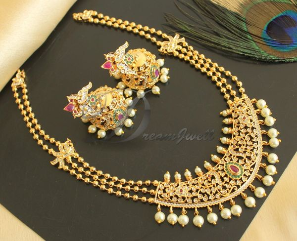 Beautiful Cz Ruby Emerald Gold Plated Pearl Designer Necklace Set