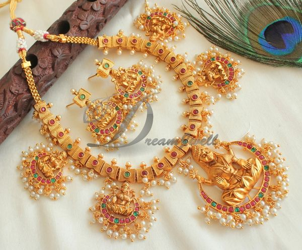 987240813 BEAUTIFUL MATTE FINISH RUBY-EMERALD LAKSHMI PEARL DESIGNER NECKLACE SET  DJ25082 | DREAMJWELL
