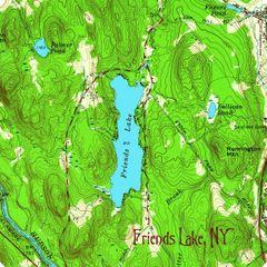Friends Lake New York 1958 Topographic Map Shirt